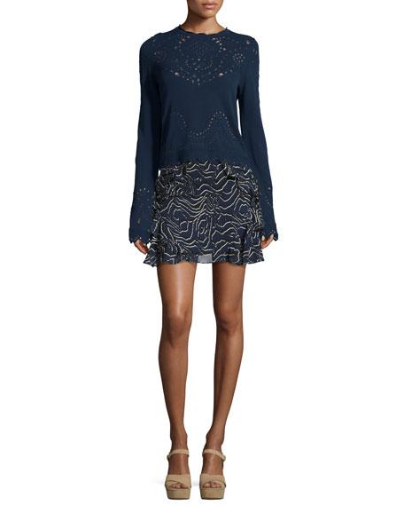 Ruffled Silk Mini Skirt, Navy