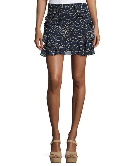 Derek Lam 10 Crosby Ruffled Silk Mini Skirt,