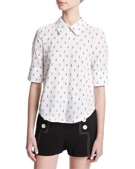 Derek Lam 10 Crosby Tie-Back Shirt W/ Button