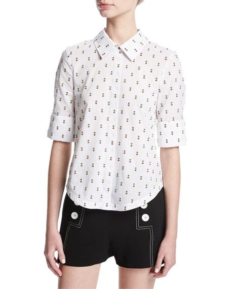 Tie-Back Shirt W/ Button Detail, White