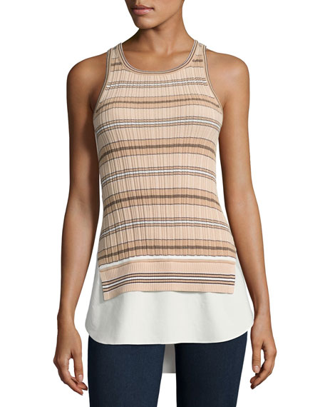 Derek Lam 10 Crosby Sheer Striped Combo Tunic