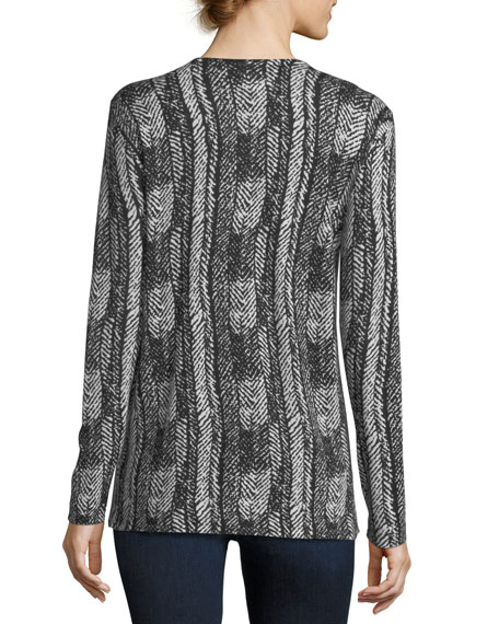 V-Neck Vertical Arrow-Print Superfine Cashmere Tunic