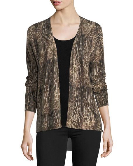 Neiman Marcus Cashmere Collection Ocelot-Print Cashmere Cardigan