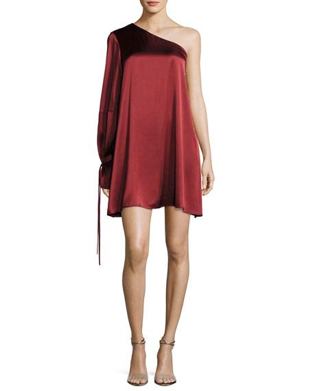 Tanya Taylor Leah One-Shoulder Satin Dress, Red