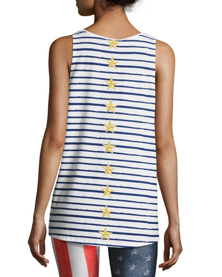 Terez Stars and Stripes Muscle Tank, White