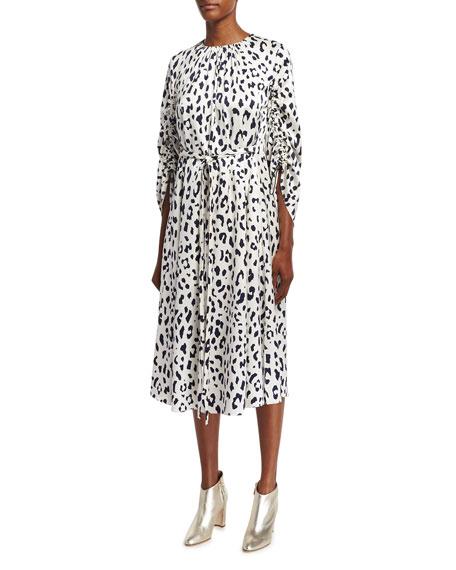 Tibi Cheetah Satin Sculpted-Sleeve Ruched Midi Dress, Ivory