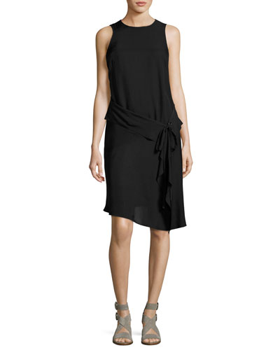 Brighton Crewneck Tank Midi Dress, Black