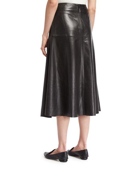 Leather A-line Midi Skirt, Black