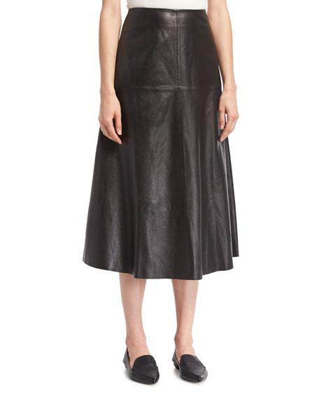 Robert Rodriguez Leather A-line Midi Skirt, Black