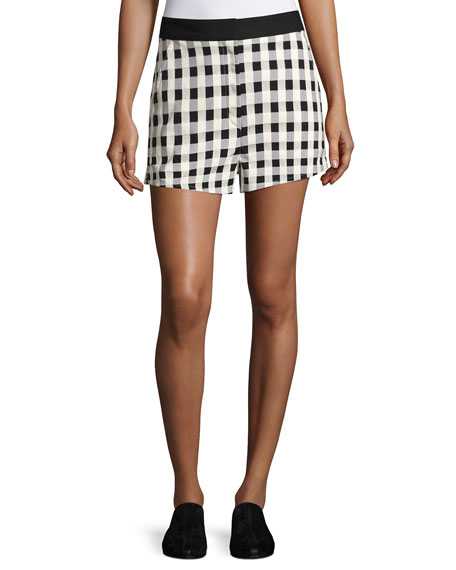 Rag & Bone Carson High-Waist Gingham Shorts