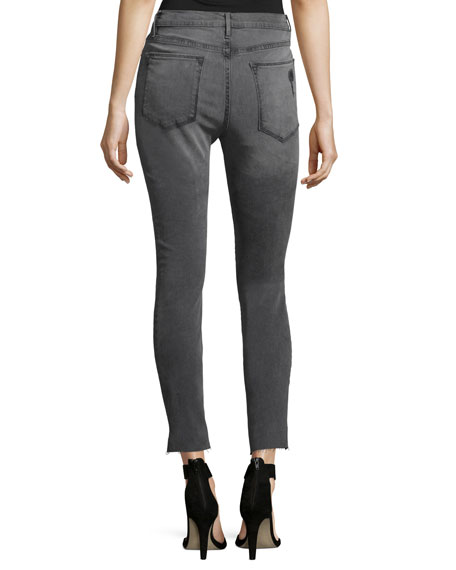 Le High Skinny Raw Stagger-Hem Jeans, Gray