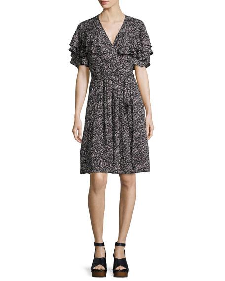 Rebecca Taylor Sweet Briar Short-Sleeve Mini Dress, Black