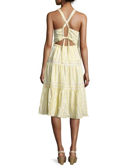 Sleeveless Halter Crinkled Midi Dress, Yellow White Multi