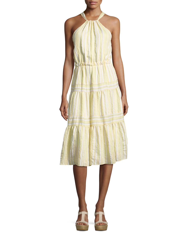 16f953838e2d Rebecca Taylor Sleeveless Halter Crinkled Midi Dress