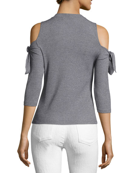 Short-Sleeve Cold-Shoulder Ribbed Jersey Top, Gray