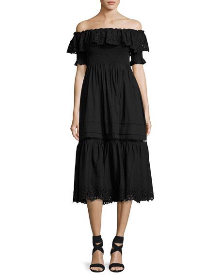 Rebecca Taylor Off-the-Shoulder Eyelet Midi Dress, Black