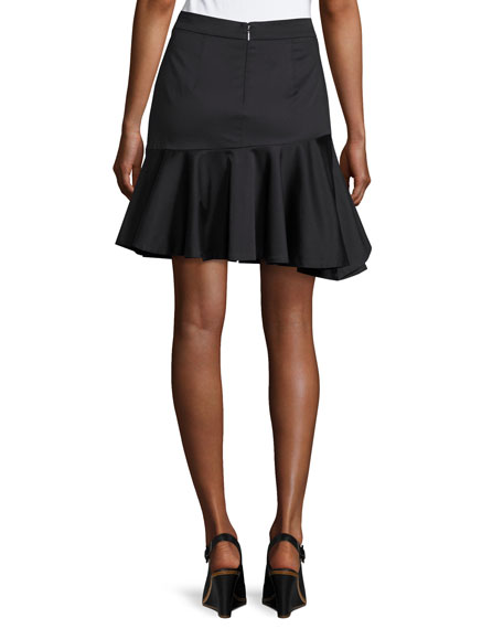 Cotton Ruffled Mini Skirt, Black