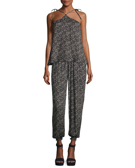 Briar Pull-On Silk Jogger Pants, Black Pattern