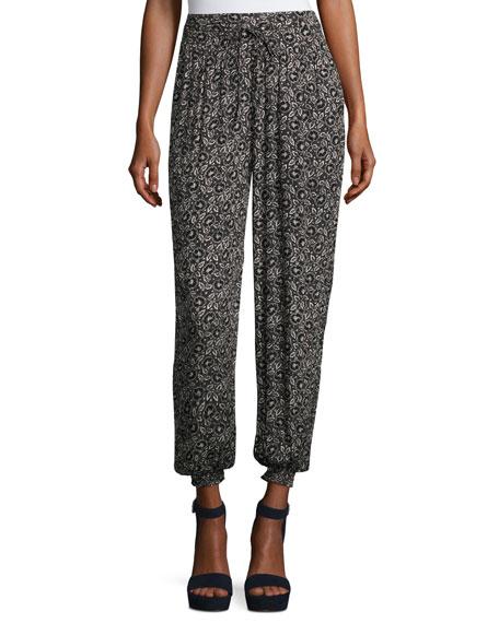 Rebecca Taylor Briar Pull-On Silk Jogger Pants, Black