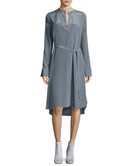 Striped Silk Long-Sleeve Shirtdress, Blue