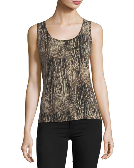 Neiman Marcus Cashmere Collection Superfine Ocelot-Print Cashmere