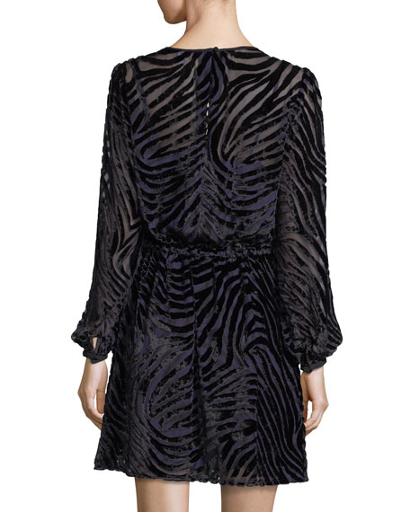 Long-Sleeve Tiger Devoré Velvet Dress