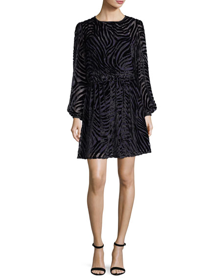 MICHAEL Michael Kors Long-Sleeve Tiger Devoré Velvet Dress