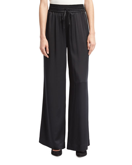Wide-Leg Drawstring Satin Pants, Black