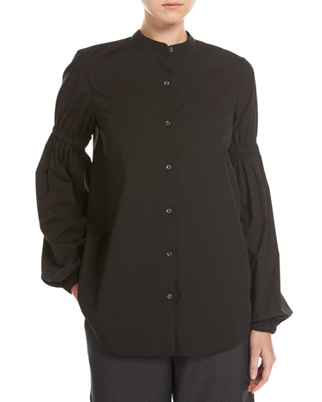Button-Front Poplin Shirt W/ Puff-Sleeves, Black