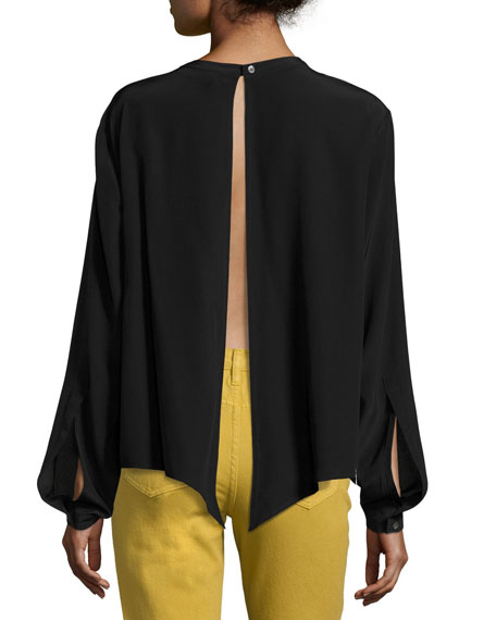 Split-Back Front-Tie Silk Top Blouse, Black