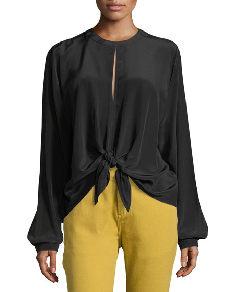 Robert Rodriguez Split-Back Front-Tie Silk Top Blouse, Black