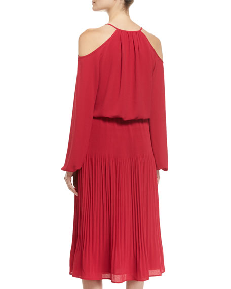 Embellished Cold-Shoulder Pleated Midi Dress
