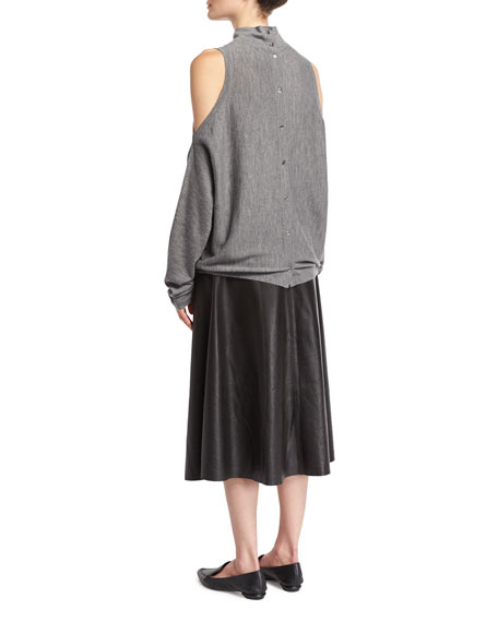 Merino Wool Cold-Shoulder Pullover Sweater, Gray