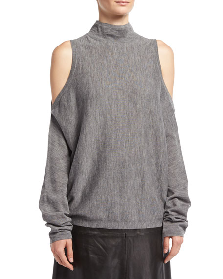 Robert Rodriguez Merino Wool Cold-Shoulder Pullover Sweater, Gray