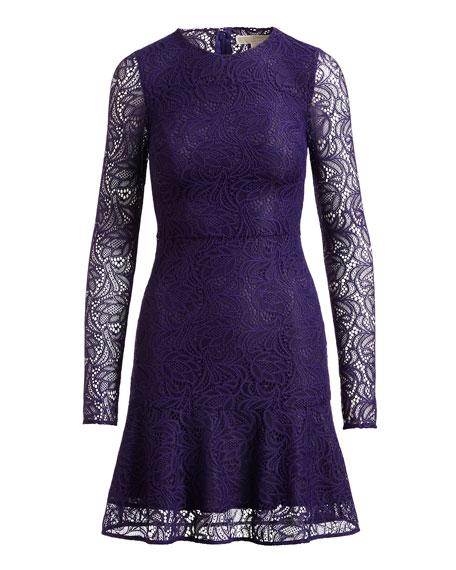 Long-Sleeve Arabesque Floral Lace Dress