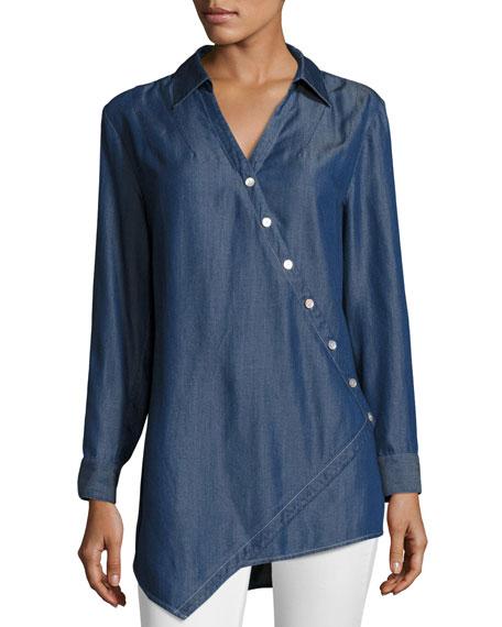 Long-Sleeve Denim Asymmetric Button Shirt, Plus Size