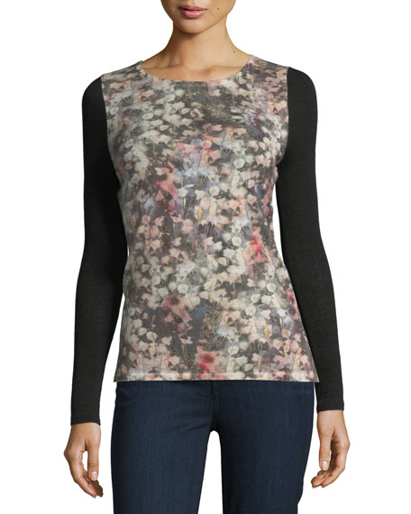 Neiman Marcus Cashmere Collection Romantic Floral Sheer-Sleeve