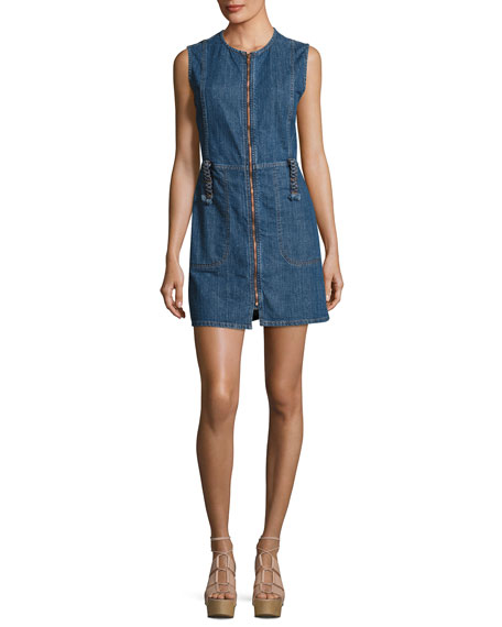 Jewel-Neck Zip-Front Denim Dress, Indigo