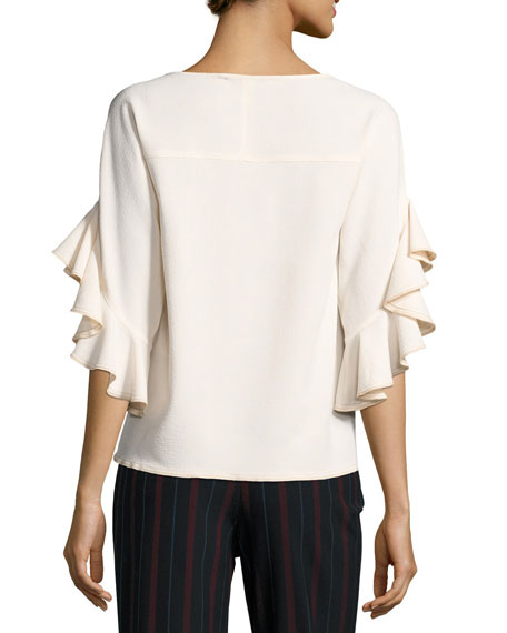 Boat-Neck Ruffled-Sleeve Crepe Top, White
