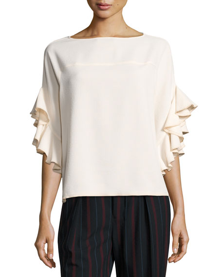 See by Chloe Boat-Neck Ruffled-Sleeve Crepe Top, White