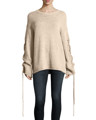 251d198c Lace-Up Sleeves Cable-Knit Pullover Sweater