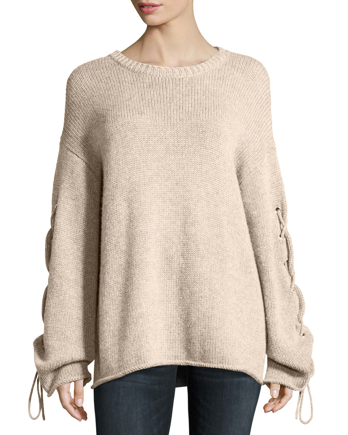 f55ad3be26591 See by Chloe Lace-Up Sleeves Cable-Knit Pullover Sweater
