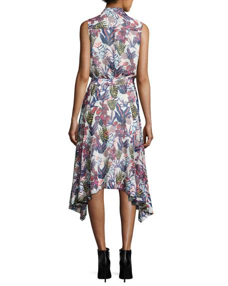 Sleeveless Floral-Print Chiffon Handkerchief-Hem Dress