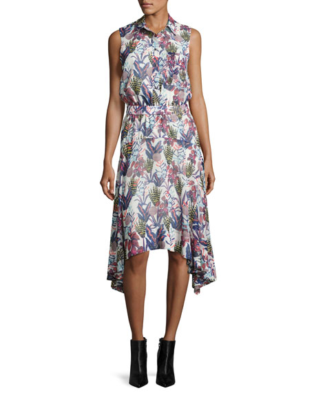 GREY by Jason Wu Sleeveless Floral-Print Chiffon Handkerchief-Hem