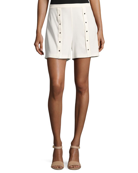 Pleated Snap Shorts, White
