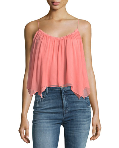 Shark Bite Hem Chiffon Tank Top