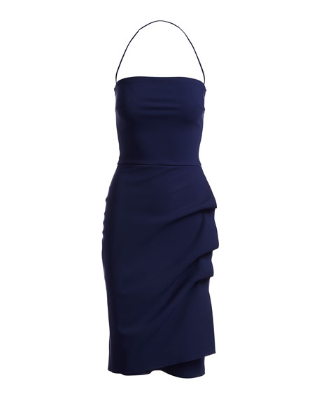 Clotilde Strapless Draped-Side Cocktail Dress