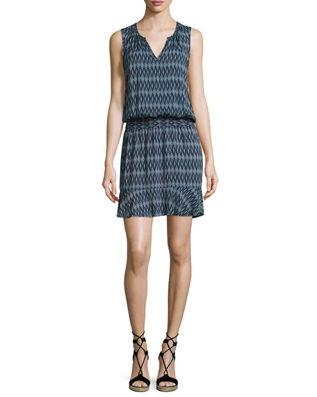 Zealana Split-Neck Sleeveless Mini Dress, Blue