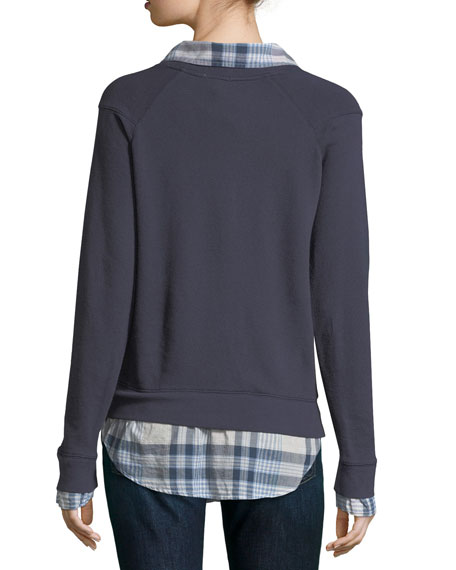 Haruna Combo Sweater w/ Plaid Shirting