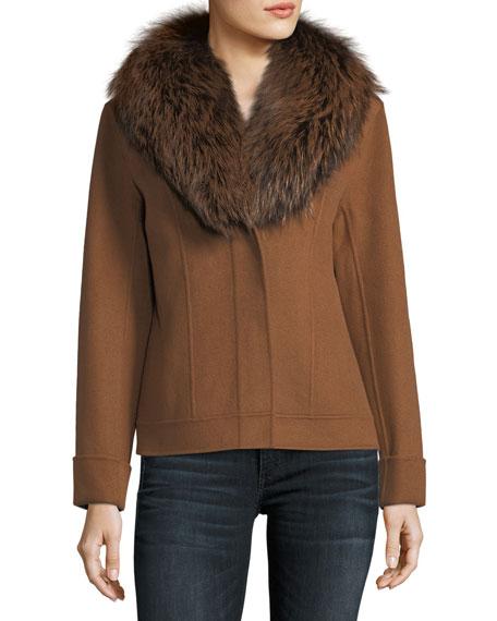Luxury Double-Face Cashmere Short Jacket w/ Fox Fur Collar